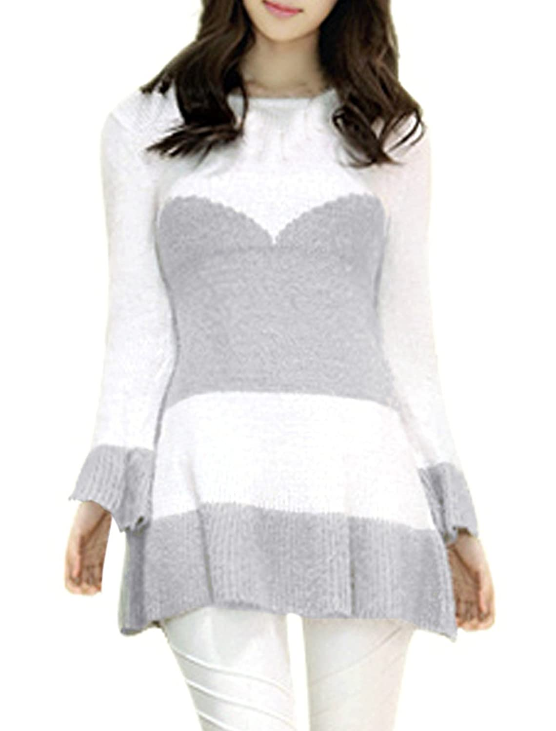 Woman Round Neck Flare Long Sleeve Ruffled Hem Slim Fit Knitted Dress