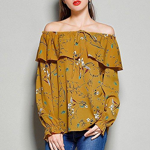 SKY Las mujeres impresas ocasional apagado blusa de las tapas de la gasa de la manga de la llamarada del hombro Amarillo
