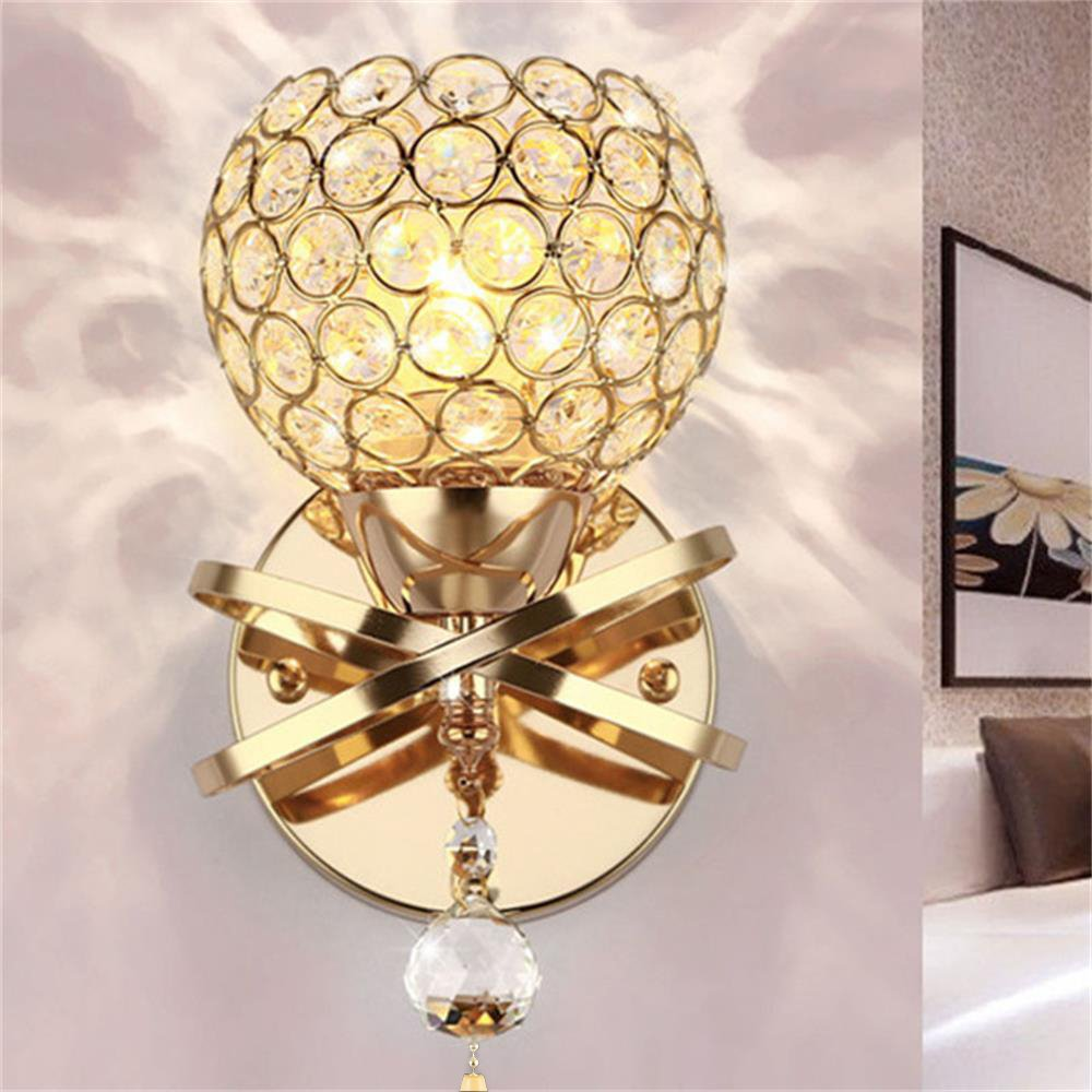 Crystal Pendant Wall Lights Wall Lamp Fixture E14 Socket Home Furnishing Decoration (Gold) Wrighteu