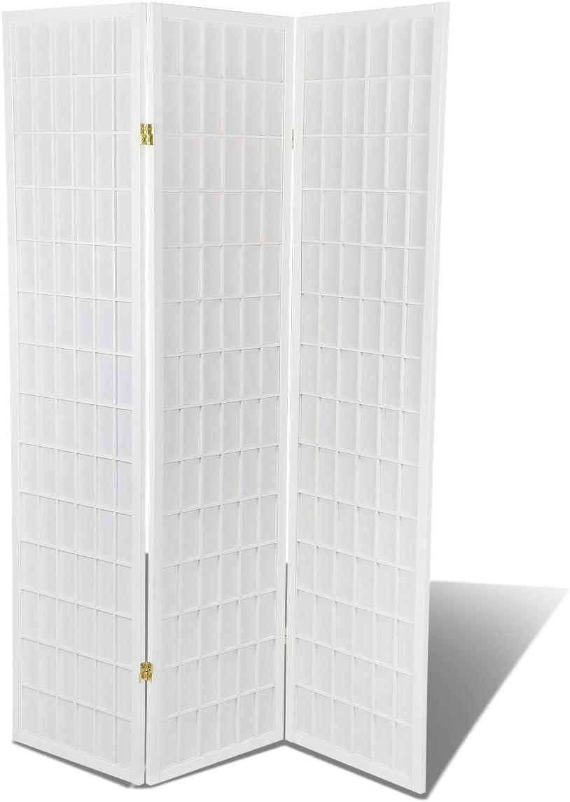 3 - 10 Panel Room Divider Square Design White (3 Panel)
