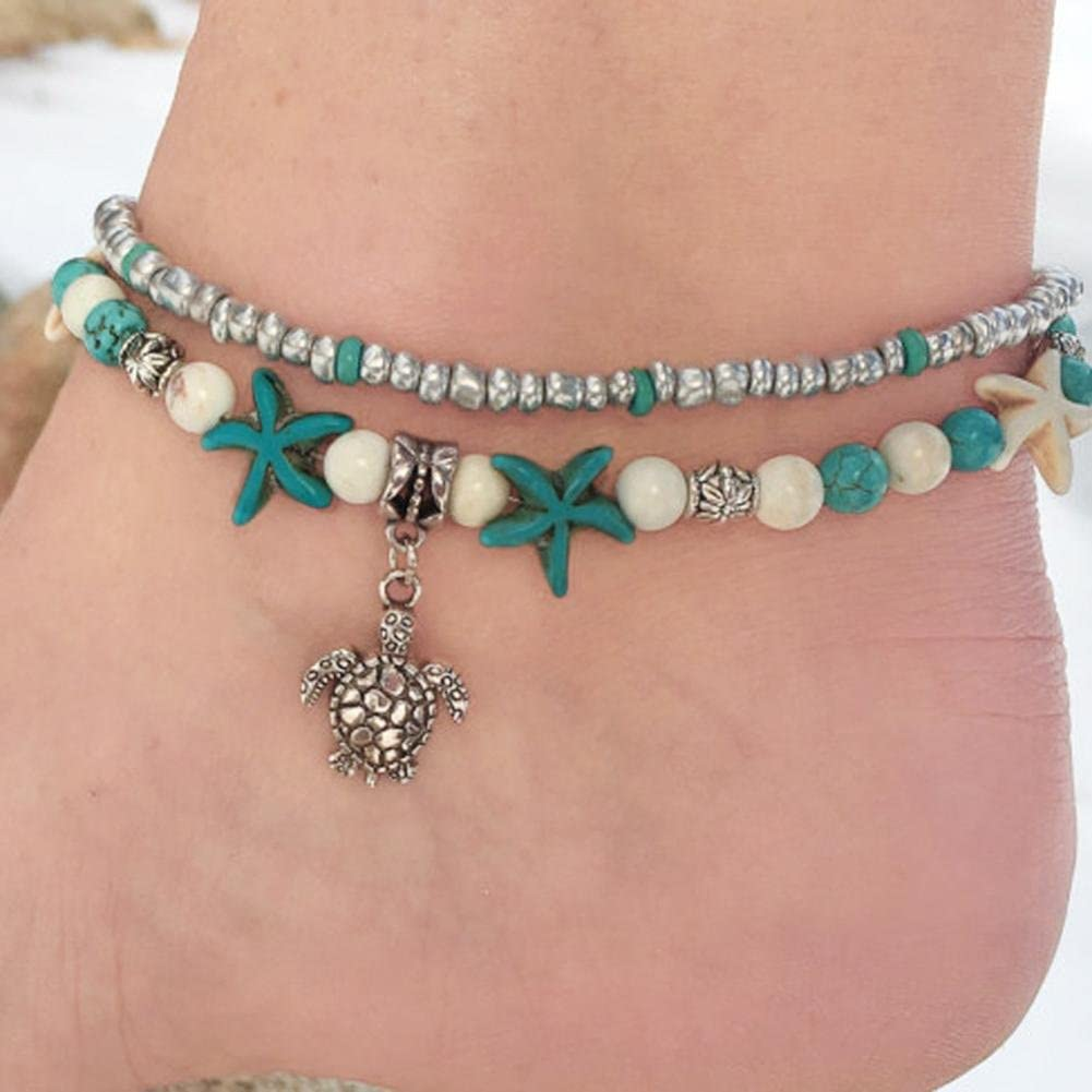 Gyoume Women Foot Chain Anklet Double Turtle Sea Snail Sea Star Yoga Beach Foot Chain
