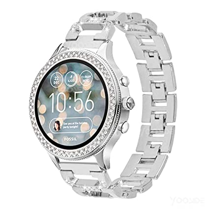 YOOSIDE Band for Fossil Q Venture, 18mm Metal Stainless Steel Bling Crystal Quick Release Replacement Watch Band Strap for Fossil Q Gen3 Venture/Gen4 ...
