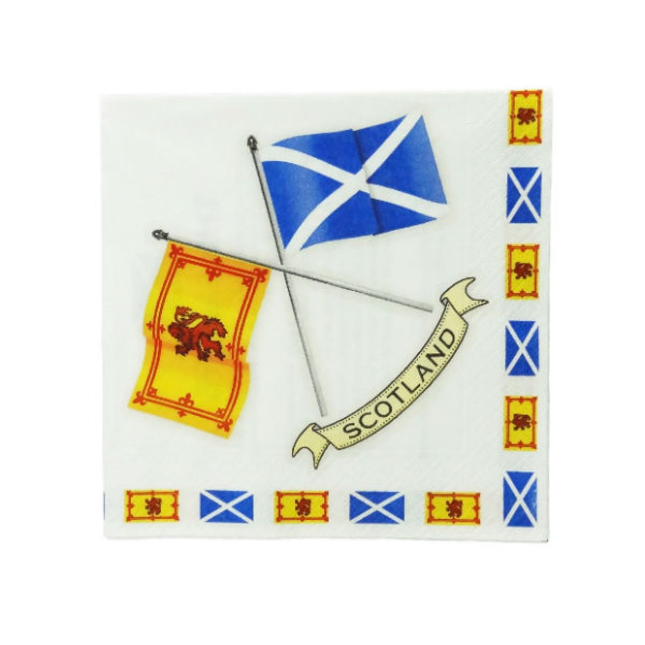 20 Pack Scottish Crossed Flags Design Paper Napkins - Made by Glen Appin