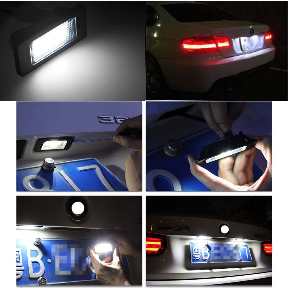 2pcs Car License Plate Light for Toyota Camry Yaris EZ VIOS COROLLA LEVIN Error Free 3W 18 Led White Rear License Tag Lights Rear Number Plate Lamp Direct Replacement