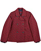 Tommy Hilfiger Women's Textured Logo Double Breasted Peacoat Jacket
