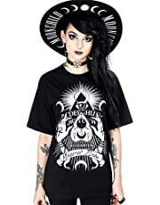 Glam and Gloria Womens Black Boyfriend Fit Magical Babe Ouija Board Witchy Goth Tee Gothic T-Shirt