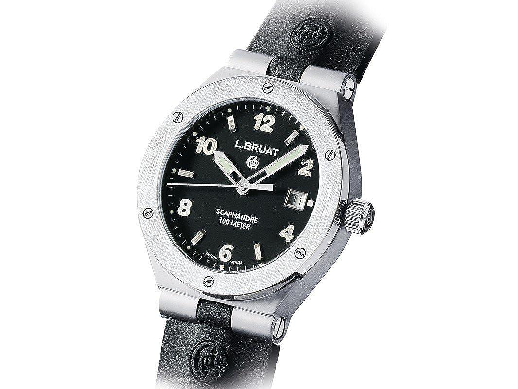 L.BRUAT 406003 - Reloj para Hombres, Correa de Goma Color Negro: Amazon.es: Relojes