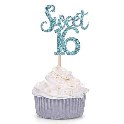 Giuffi - 16 adornos para cupcakes (16 cumpleaños): Amazon ...