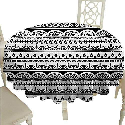 cashewii Tribal Round Polyester Tablecloth Ethnic Borders with Leaves Florals Flowers Ivy Swirls Inspired Art Image Print Waterproof/Oil-Proof/Spill-Proof Tabletop Protector D50 Black and White ()
