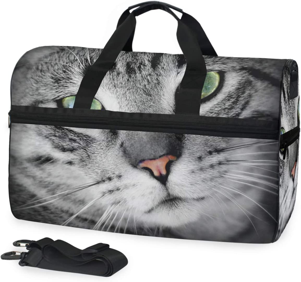 AHOMY Cat Sports Gym Bag with Shoes Compartment Travel Duffel Bag