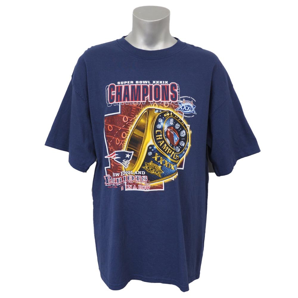 NFL ニューイングランドペイトリオッツ 第39回 スーパーボウル 優勝記念 2 in a Row Tシャツ Super Bowl XXXIX (ネイビー) B06XDP27XP   XL