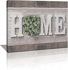 Modern Canvas Prints Rustic Home Sign Wood Grain Artwork Picture Farmhouse Décor Wall Art Painting for Home Living Room Kitchen Ready to Hang