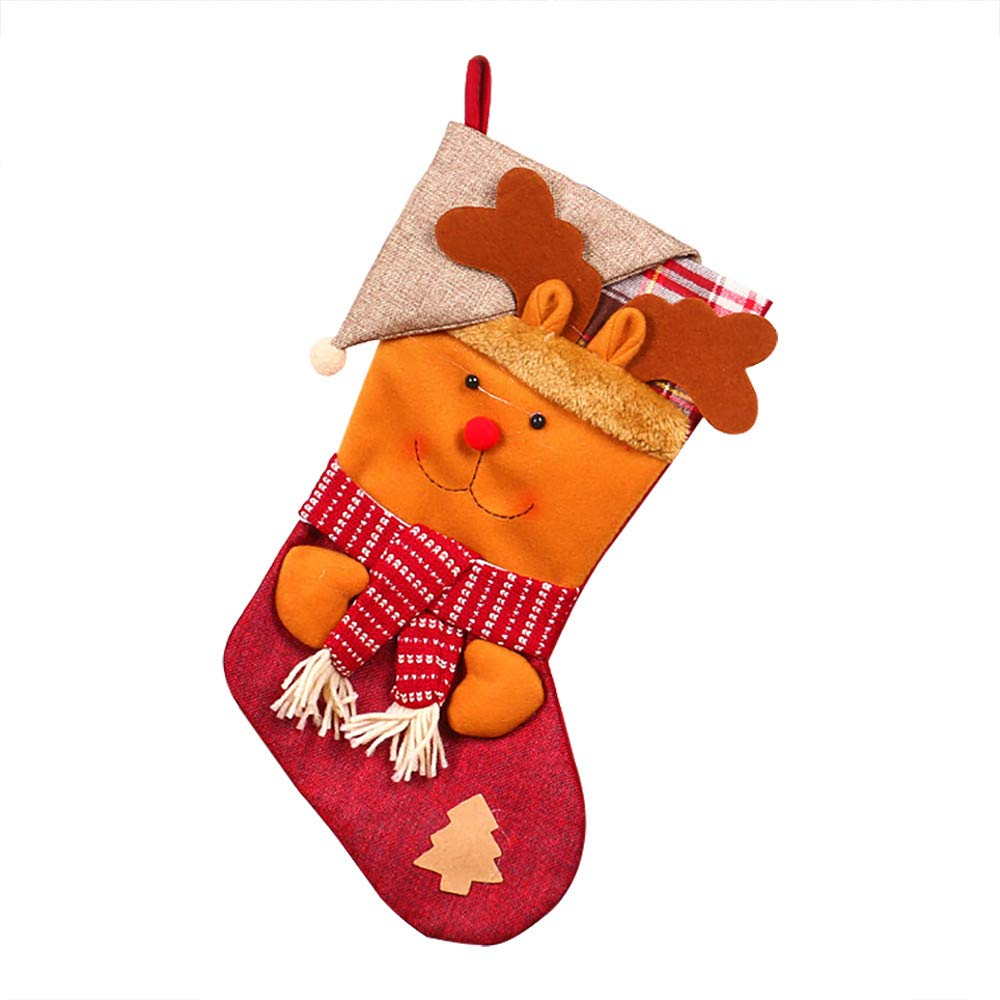 Christmas Tree Decorations, Jchen(TM) Christmas Stockings Gift Bags, Santa Claus Snowman Pattern Decoration Christmas Tree Candy Gift Christmas Decor (Brown)