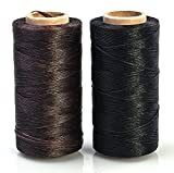 Annic 2pcs 0.8mm Waxed Thread for Leather Sewing Leathercraft Tool Stitching Cord 284yd Black and Brown