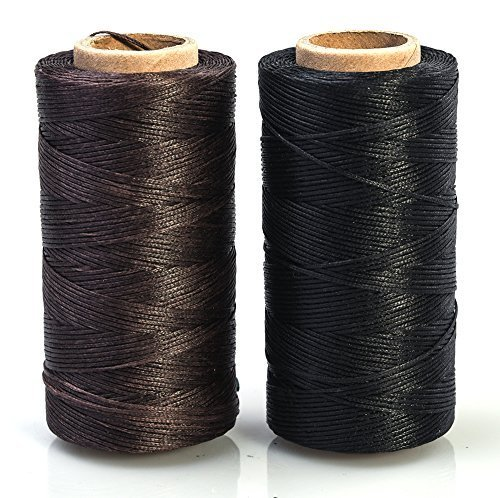 Annic 2pcs 0.8mm Waxed Thread for Leather Sewing Leathercraft Tool Stitching Cord 284yd Black and Brown by Annic