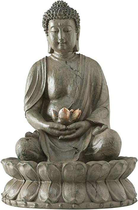 B&B Pozo Escultura Estatua de Buda 52cm con Agua + Luz Feng Shui Figura: Amazon.es: Hogar