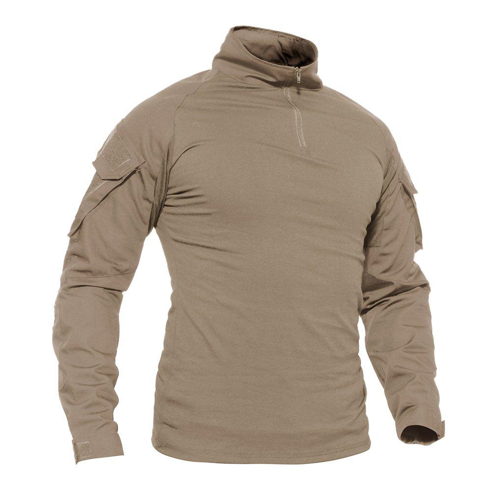 TACVASEN Mens Army Camouflage Camo 1/4 Zip Tactical Response Hiking Shirt Khaki,US XL/Tag 3XL by TACVASEN