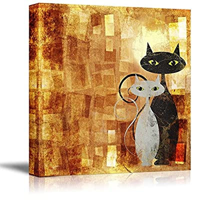 Canvas Prints Wall Art - Black and White Cat on Orange Grunge Canvas (Painting, Abstract, Cat) | Modern Wall Art Stretched Gallery Canvas Wrap Print. Ready to Hang 16