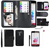 LG G3 Wallet Case, xhorizon TM SR Premium Leather Folio Case Wallet Magnetic Detachable Purse Multiple Card Slots Case Cover for LG G3 (Black with a 9H Tempered Glass Film)