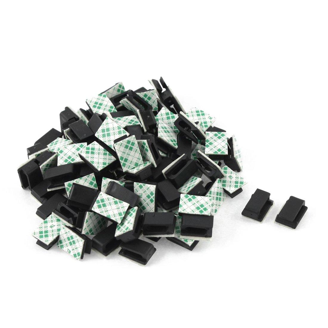 Clip de lazo de cable adhesivo - SODIAL(R) 100 piezas clip de lazo de soporte de cable adhesivo organizador de caida de abrazadera