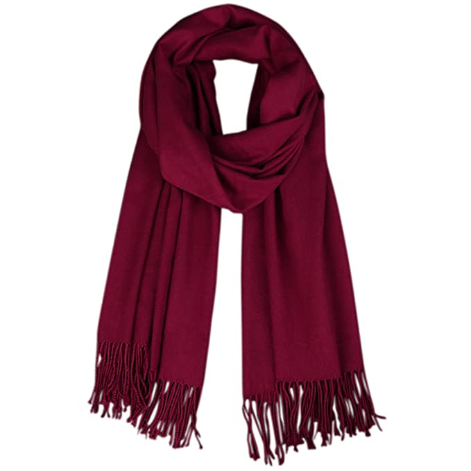 093800b3cd4 Lanzom Women Soft Cashmere Blanket Scarf Tassel Solid Color Warm Shawl Scarf  (Wine Red)