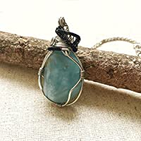 Raw Aquamarine Mixed Metal Pendant - Custom Necklace Length - March Birthstone