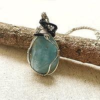 Raw Aquamarine Mixed Metal Pendant - Custom Necklace Length - March Birthstone