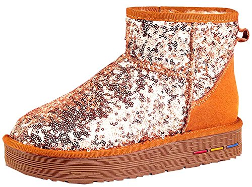 casual cotton sequined Fabric women's color padded warm boots shoes Chestnut new snow 1HwqUgnS