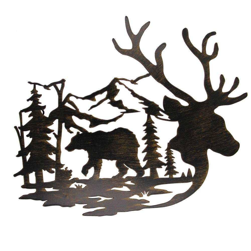 Juegoal Metal Wall Art- Deer & Bear in The Forest Pine Tree Wall Decor Hanging for Living Room, Bedroom, Bathroom Indoor Outdoor, 14 x 12 Inches