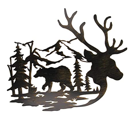 Buy Juegoal Metal Wall Art Deer Bear In The Forest Pine Tree Wall Decor Hanging For Living Room Bedroom Bathroom Indoor Outdoor 14 X 12 Inches Online At Low Prices In