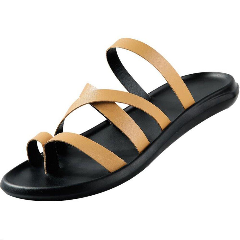 GAOLIXIA Herren Schuhe Leder Sommer Sandalen Herren Herren Herren Casual Sandalen Flip Flops Menschen Wort Flip Flop Herren Strand Schuhe (Farbe   braun, Größe   41) 7e0300