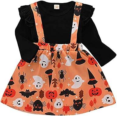Cute Halloween Pumpkin Print Romper Tulle Skirts Outfits Sets Toddler Kids Baby Girls Santa Striped Princess Dress