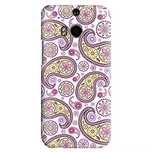 HTC ONE M8 Case,JIANSE Stylish Full Protective Slim Fit Durable Flexible Beautiful Reto Henna Mandala Tattoo Floral Paisley Hard Back Cover Case Bumper for HTC ONE M8