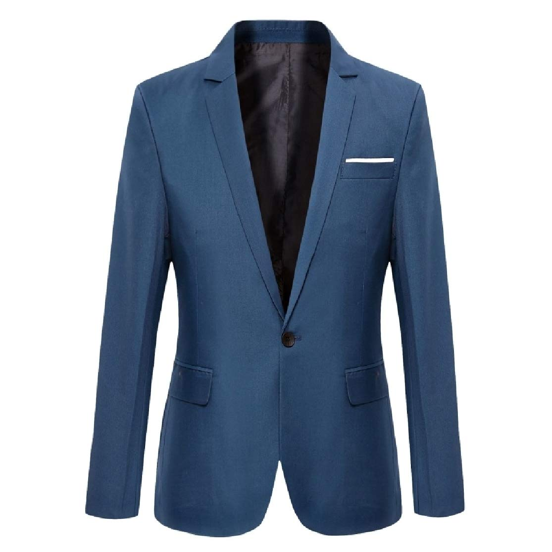 Comaba Mens Fashion 1 Button Casual Solid Silm Fit Wedding Party Blazer