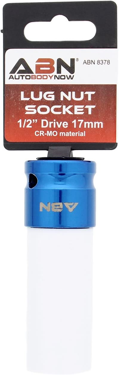 Thin-Walled Wheel Rim Protector Color-Coded ABN 1//2in Impact Drive 19mm Lug Nut Socket Laser-Etched Non-Marring