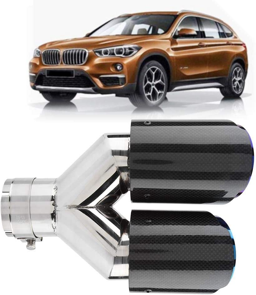 Duokon Carbon Fiber Style Universal Car Y-shaped Dual Outlet Exhaust Pipe Muffler Tip Tail Throat 63-89