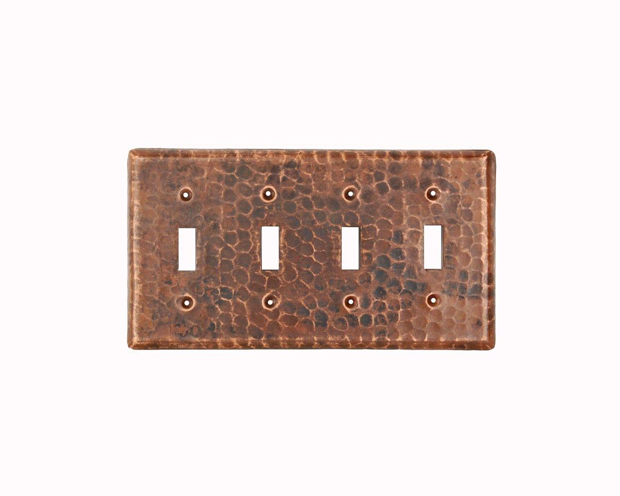 Premier Copper Products ST4 Copper Switch Plate Quadruple Toggle Switch Cover, Oil Rubbed Bronze