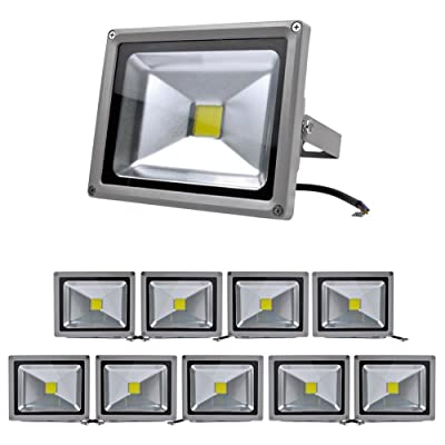 10 PCS 20W IP65 LED Projecteur Lumiere IP65 Blanc Froid 6000-6500K