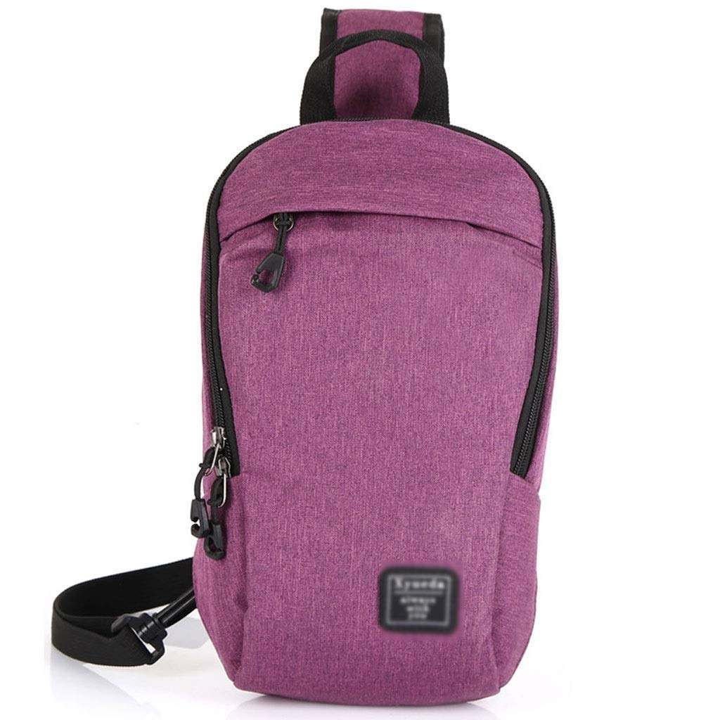 FS Fashion Pockets, Male and Female Students Waterproof Personality Outdoor Leisure Diagonal Cross Bag, Large Capacity Running Fitness Backpack, Four Color Options (Color : Purple)