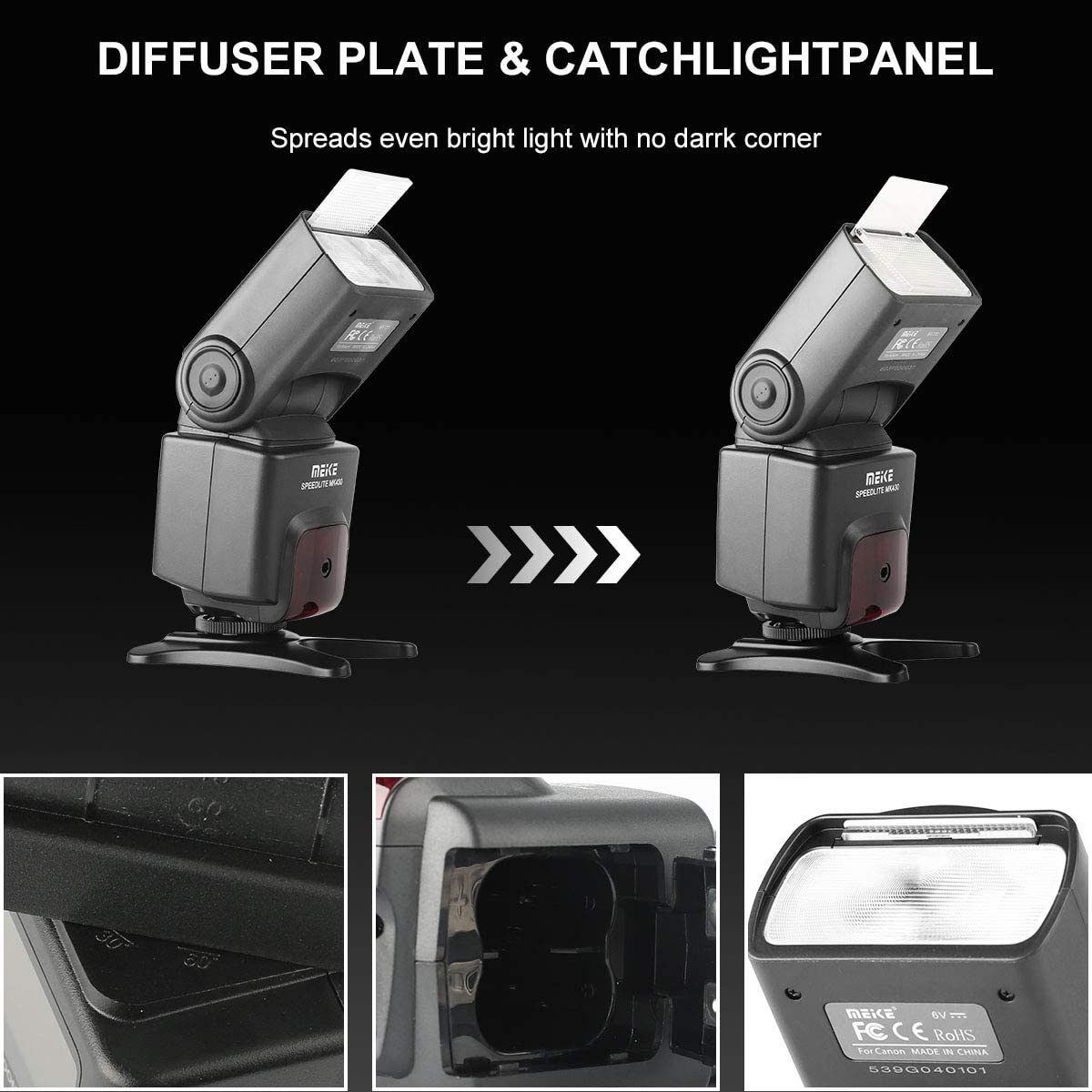 Meike MK430 E-TTL LCD Display Speedlite Shoe Mount Flash for Canon EOS 70D 77D 80D Rebel T7i T6i T6s T6 T5i T5 T4i T3i SL2 and Other Eos Digital DSLR Camera with Standard Hot Shoe Stand