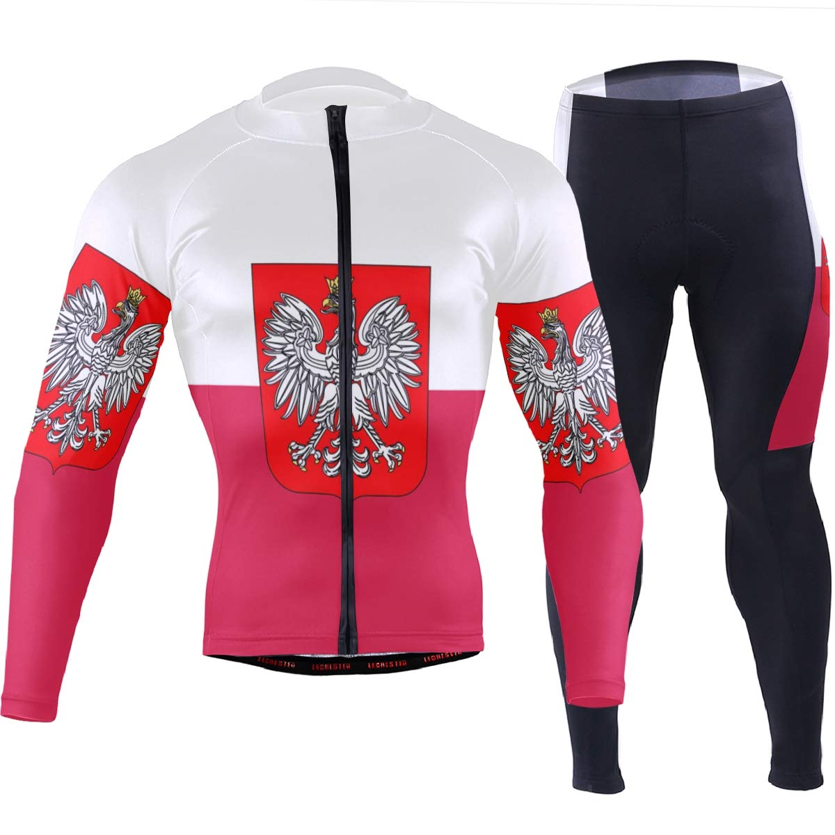 Men's Cycling Jersey Long Sleeve with 3 Rear Pockets Suit Poland Flag National Emblem by CHINEIN