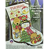 Tobin Making New Friends Stocking Counted Cross Stitch Kit, 17-Inch Long, 14 Count