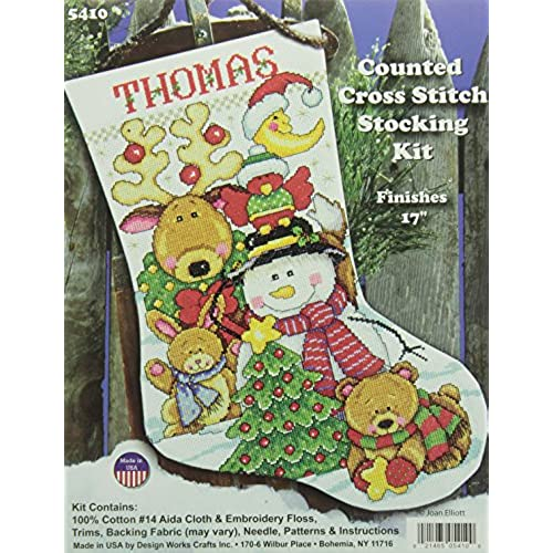 tobin making new friends stocking counted cross stitch kit 17 inch long 14 count