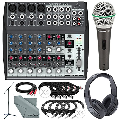 (Behringer XENYX 1202 12 Channel Audio Mixer and Platinum Bundle w/Samson Dynamic Mic + Closed-Back Headphones + Full-Size Mic Stand + More)