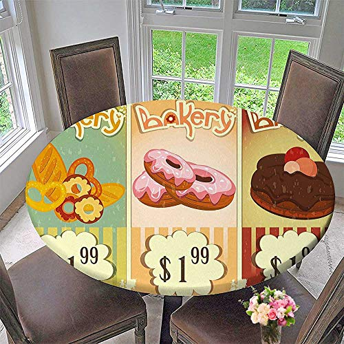 Mikihome Round Tablecloth Bakery of Delicious Pastries Deserts Doughnuts and Cakes with Price Tags for Kitchen 40