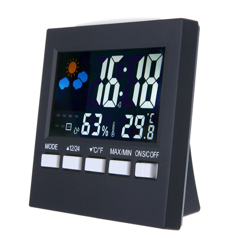 Festnight Digital Display Thermometer Humidity Clock Colorful Indoor Outdoor Temperature Monitor Alarm LCD Alarm Calendar Weather with Snooze Function