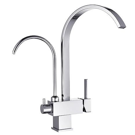 Filter Tap 3 Way Tri Flow Water Kitchen Sink Mixer Tap Chrome