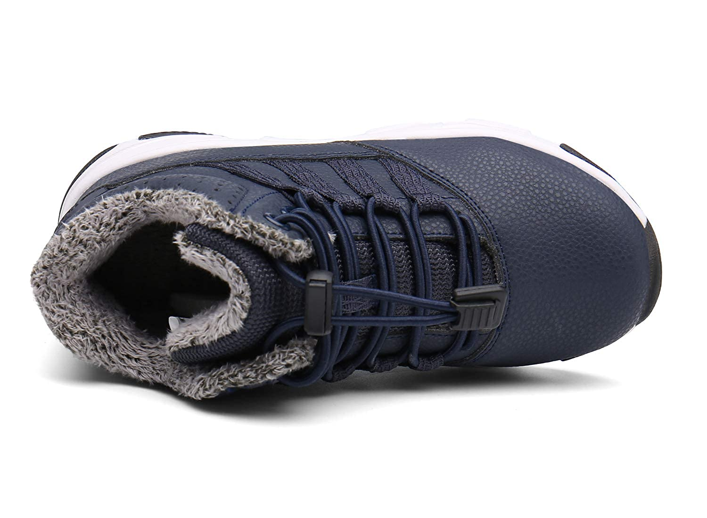 Kinderstiefel Jungen M/ädchen Winterschuhe Warm Gef/üttert Sneaker rutschfeste Stiefel Leichte Wanderstiefel Blau EU26=CN27