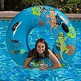 Inflatable Blue and Orange Gecko Hawaii Swimming Pool Inner Tube, 54-Inch