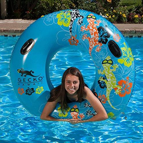 Inflatable Blue and Orange Gecko Hawaii Swimming Pool Inner Tube, 54-Inch by Swim Central (Image #1)
